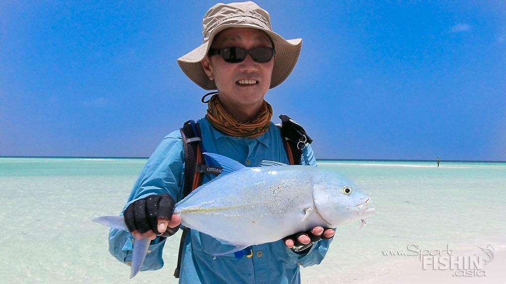 Dr Ling with another Bluefin taken with fly on the Maldivian flats