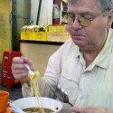 Bob trying out Bidor's famous herbal duck drumstick noodle