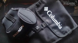 Salomon arm-pouch and Columbia toiletries bag