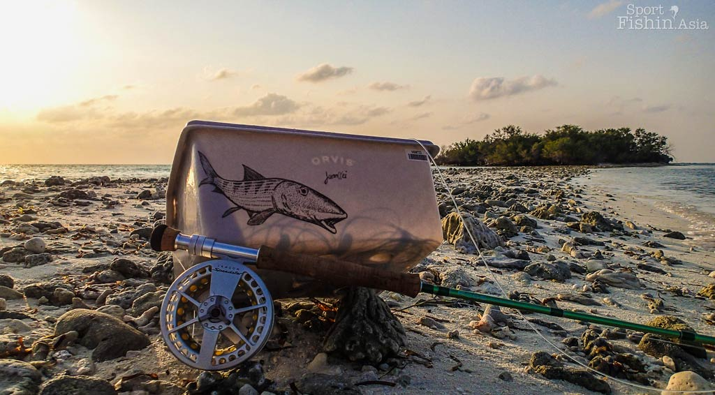 orvis stripping basket bonefish-drawing art with a ross flystik and lamson speedster