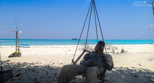Don't be fooled by the peaceful slumber, it is extremely hot out there fishing in the Maldives.