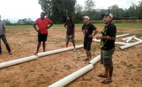 Building the casting pool with the Sabah fly fishers