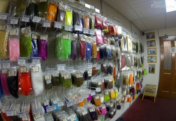 Rows and rows of fly tying materials for any fly you can imagine