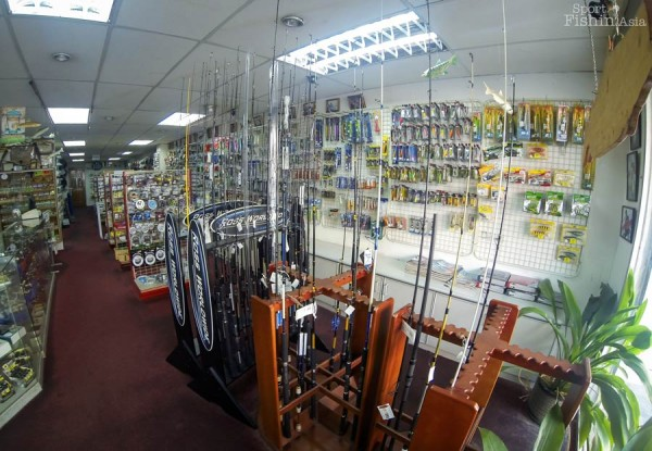 Racks of spinning, bait cast, popping and jigging rods