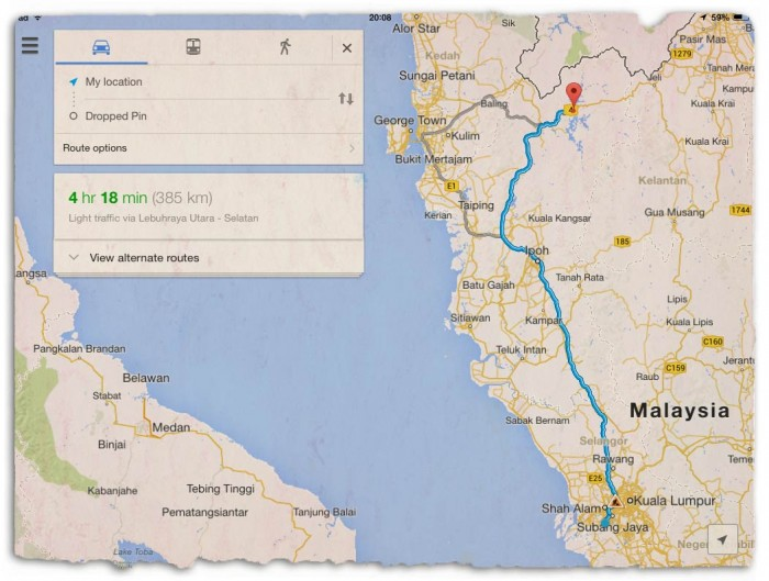 distance-map-kuala-lumpur-to-royal-belum-banding-temenggor