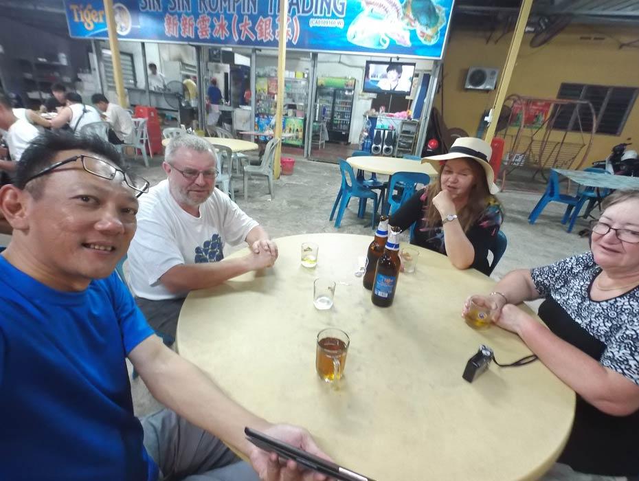 Enjoying dinner at one of the Rompin restaurant