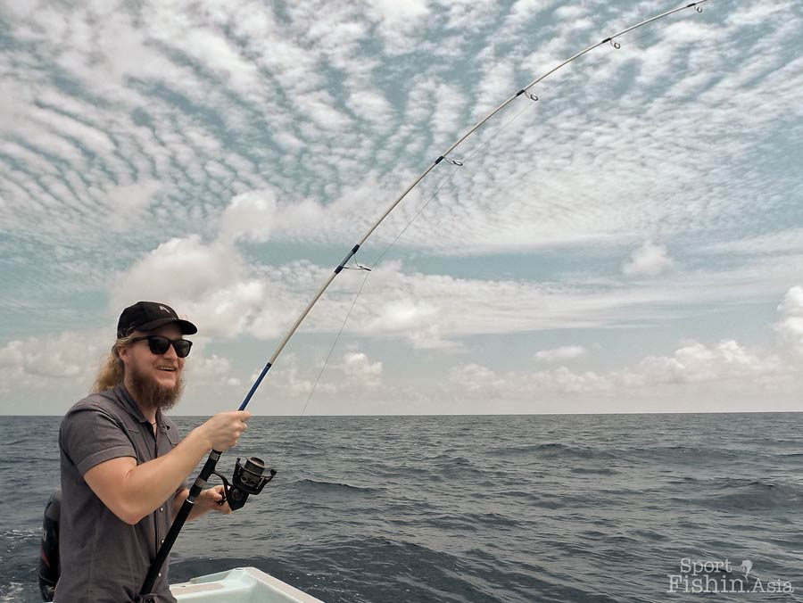 Interesting cloud formation while Linus battles a sailfish using a PENN Conflict reel.