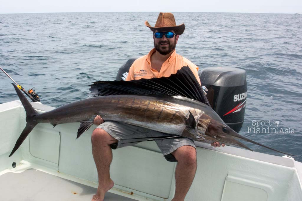 James with one of the bigger-than-average-size sailfish