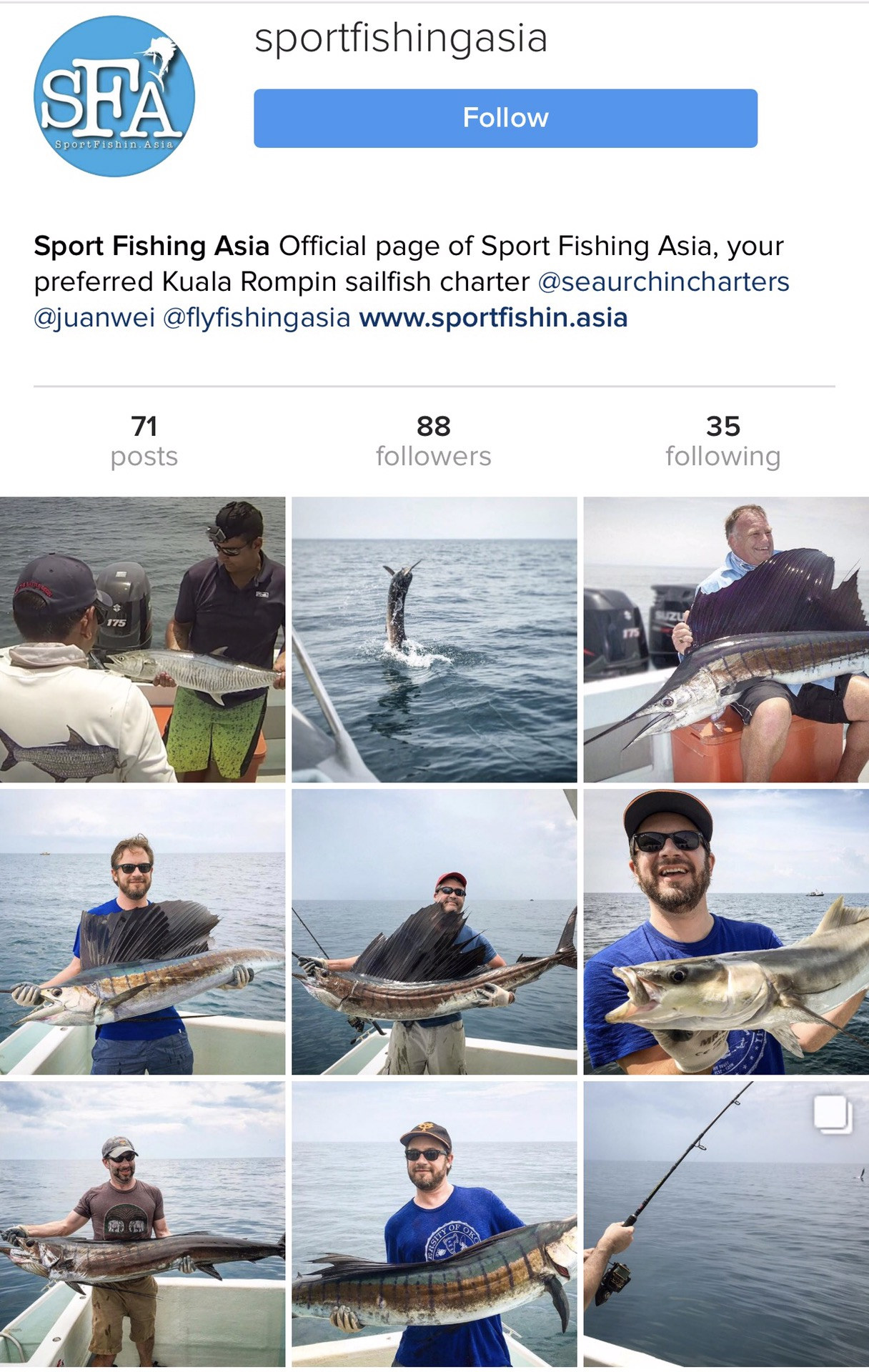 Sport Fishing Asia Instagram page