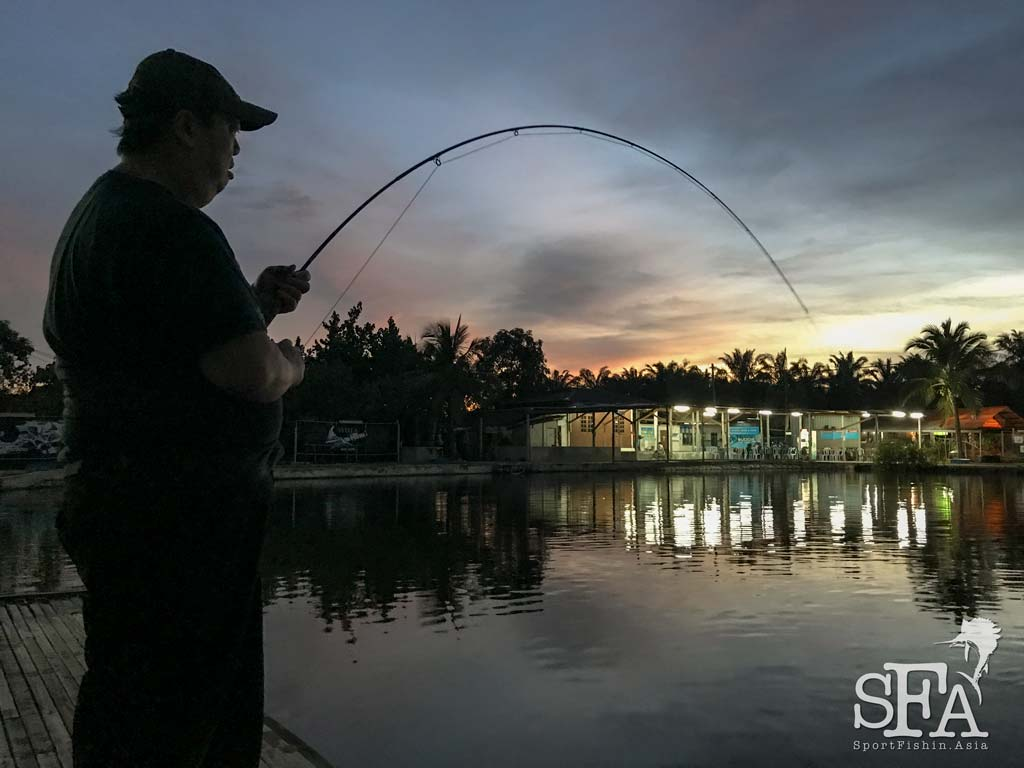 Night fishing at Fishing Buddies pond