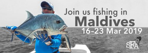 fishing Maldives giant trevally 2019