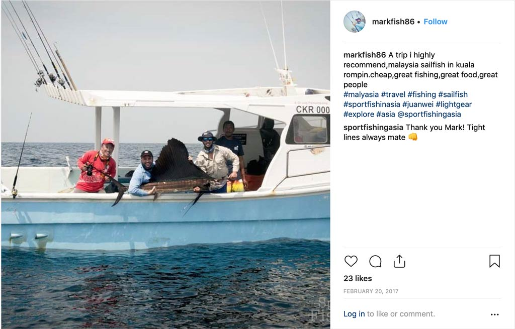 Rompin sailfish charter testimonial on instagram