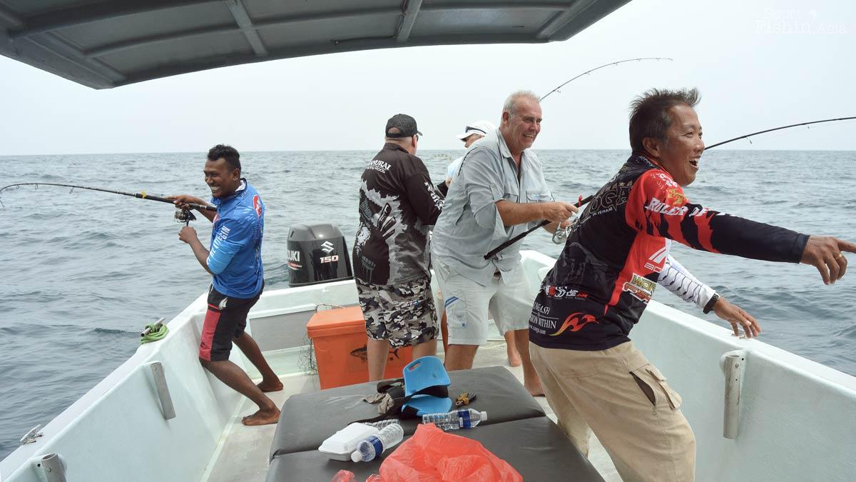 Quadruple hookup of sailfish