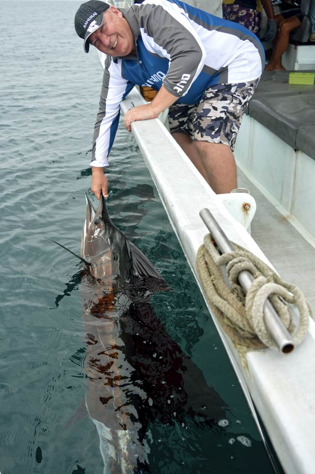 Steven lands a nice sailfish