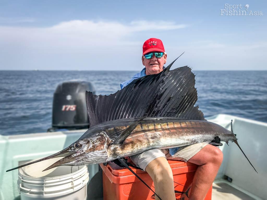 Geoff with a beautiful Kuala Rompin sailfish