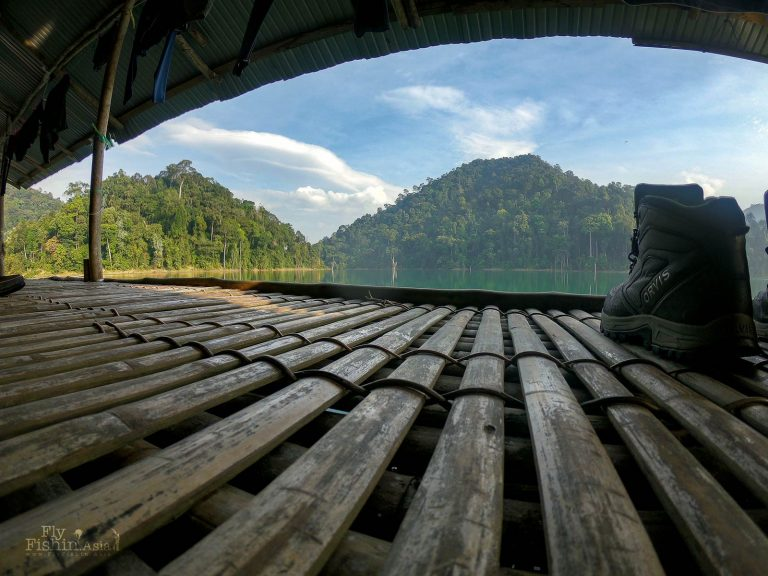 Orvis ultralight wading boots in a Thai raft house