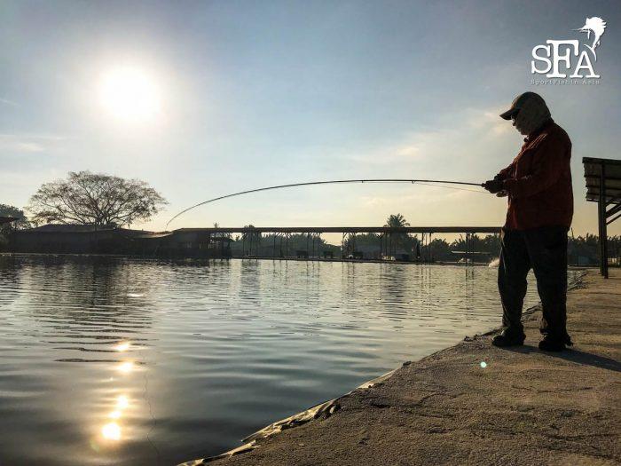 David battles his first fish in LS Pond