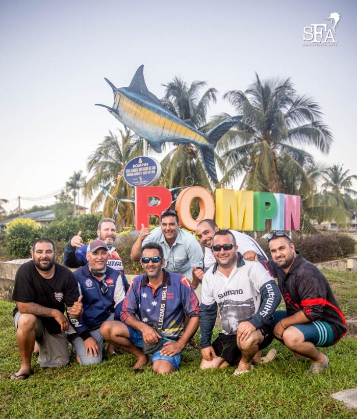 A group photo for the boys in Kuala Rompin in front of the billfish landmark