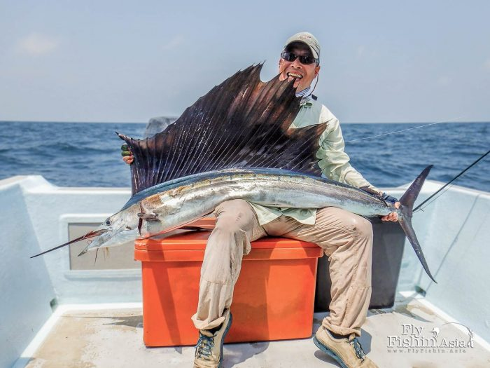 Konishi San understandably absolutely happy to get his first sailfish on the fly