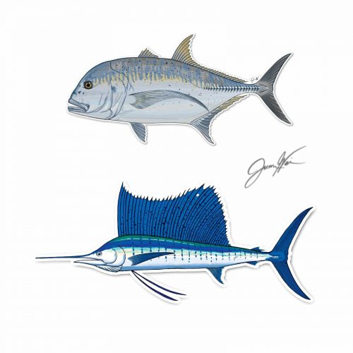 giant trevally gt sailfish decal stickers