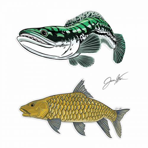 toman giant snakehead mahseer decal stickers