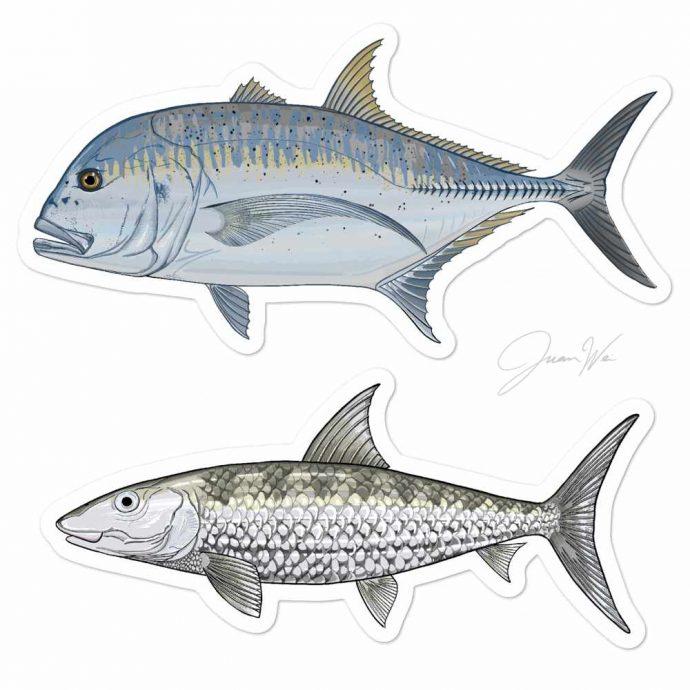 giant trevally bonefish stickers
