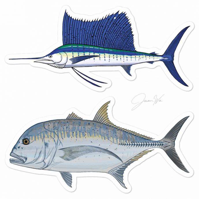 sailfish giant trevally stickers