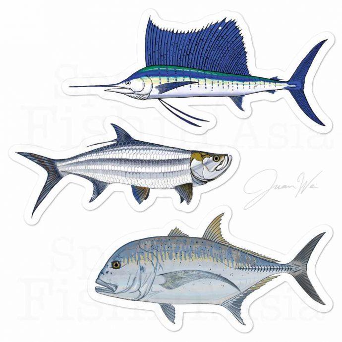 sailfish tarpon giant trevally grand slam stickers