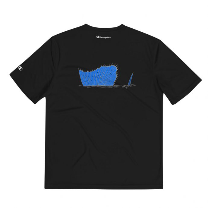 Champion sailfish black t-shirt showing dorsal fin on the back design