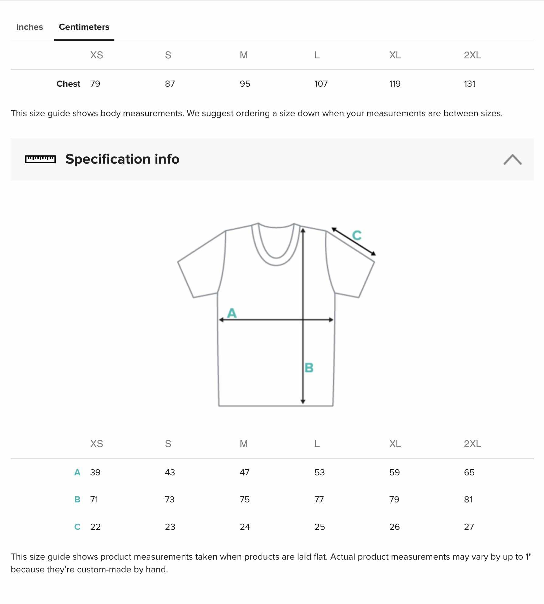crew neck t-shirt size chart cm