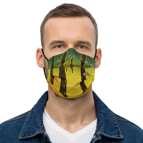 Peacock bass face mask Front Mens Black