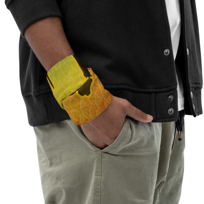 Peacock bass neck gaiter Right Lifestyle