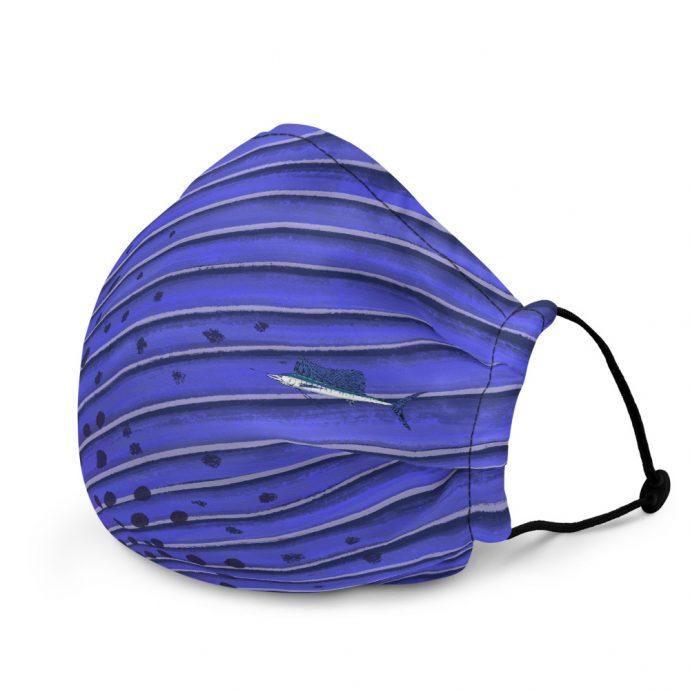 Sailfish art face mask Left Flat Black