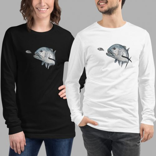 giant trevally Unisex Long Sleeve Tee black white