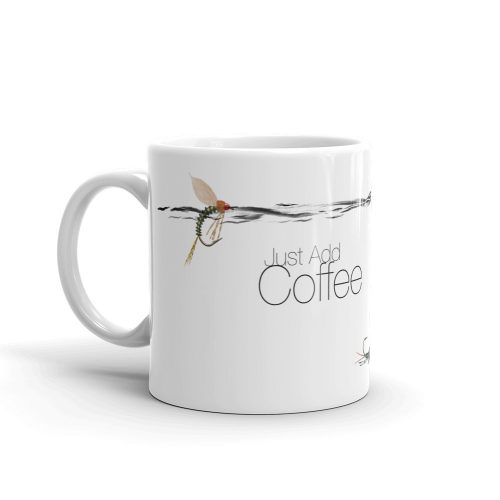 just add coffee fly fishing mug