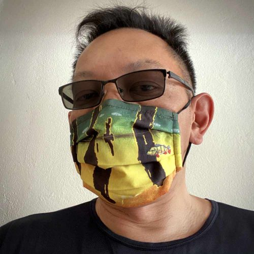 peacock bass face mask design