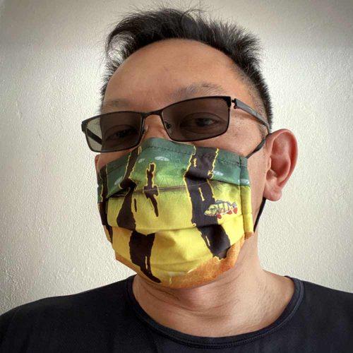 peacock bass face mask design
