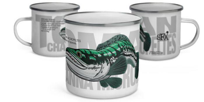 toman giant snakehead fish enamel mug