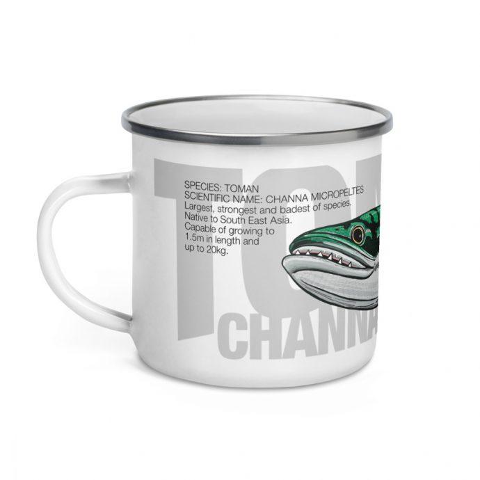 Toman giant snakehead enamel mug left side