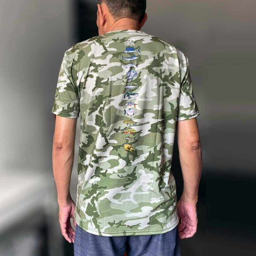 Green camouflage fishing t-shirt back