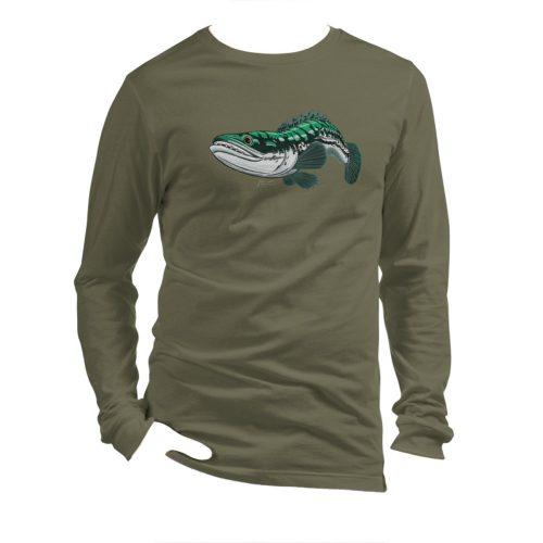 toman (giant snakehead) military green t-shirt