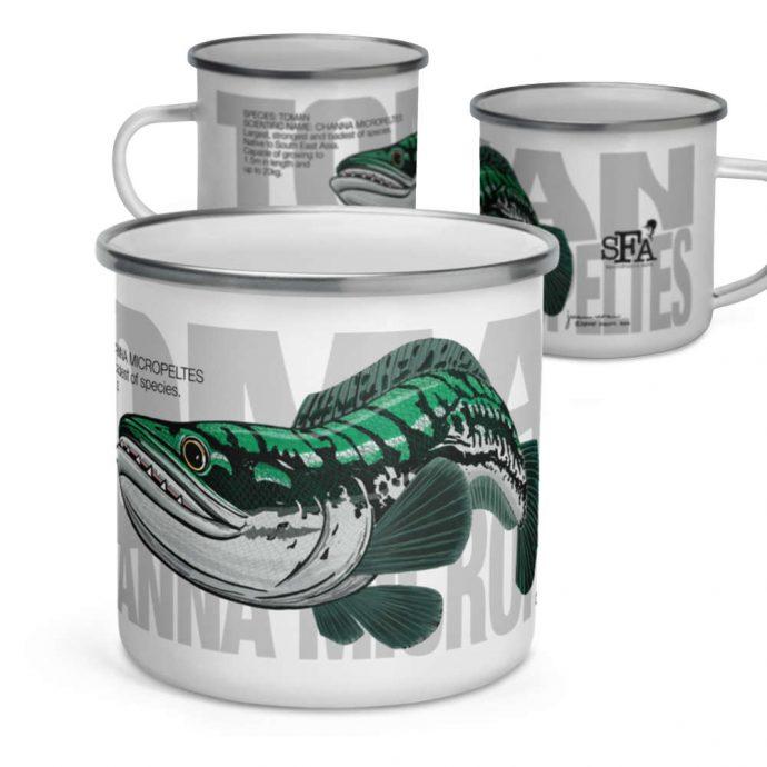 Toman giant snakehead enamel mug