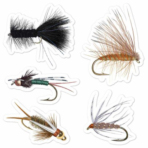 Fly fishing flies art stickers